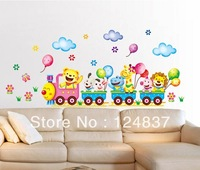 Lion Giraffe Train Wall Sticker Animal Stickers DIY TV background Art Kids Room Decals Wallpaper Cartoon Poster Home Decoration