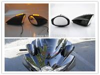 Free Shipping Black Motorcycle LED Turn Signal Pig Spotter Mirror for Suzuki GSXR 600 750 1000 1300 Hayabusa Katana GSX600 700F