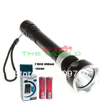 Diving flashlight Waterproof CREE XM-L 1600LM LED Diving Flashlight Underwater Lamp Torch + 2*18650 4000mah +charger