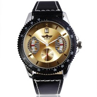 2014 Gear Steel Case Calendar Dial mens automatic watch Sports watches skeleton watch Leather Band wristwatch FreeShipping