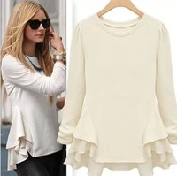 Free Shipping 2014 Autumn New European style Fashion Ruffle Big Wave Hem Stitching Chiffon Long Sleeve Cotton T-shirt Women Tops