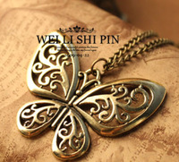 Minimum order is USD10! New Arrival  Fashion  Butterfly shape Necklace in Bronze for Women Free Shipping