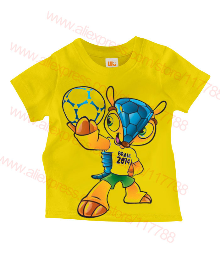 Children T shirts 2014 Brazilian World Cup 100% cotton, boy girl clothing, kids T shirt, Wu Children Clothing, Free Shipping(China (Mainland))