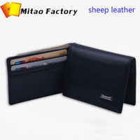 2014 New Fashion Birthday Gift Luxury Black Color Sheep Leather Card holder Wallet With Coin Bag Pocket Purse Free Shipping