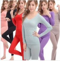 new 2013 Women's long  cotton winter warm polartec women's thermal underwear women love pink  plus size seamless underwear