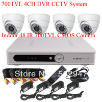 H.264 4CH DVR Security CCTV System 700TVL CMOS Sensor 48 IR Indoor Dome Video Camera With IR-Cut