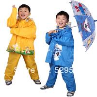 Free Shipping! Children Raincoat Rain-proof Pants Rain Shoes Cover Set Plus Hat Brim Cartoon Split Rain Shoes Cover