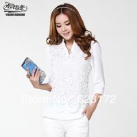 new 2013 lace blouses blouse shirt women clothing blusas femininas blusas plus size roupas embroidery tops xxxl ys003