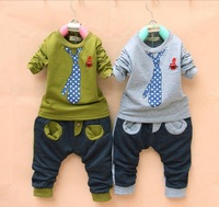 Children's clothing new boys sport suits fashion tie desgin kids long sleeve hoodies and pants sets Free shipping LP14