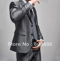 Free shipping High quality silver two button Men's Business Suit Suits Dress Clothing Western Style size:S-XXXL