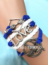 Free Shipping!6PCS/LOT!Build You Own Charm Bracelet Woven Leather Rope Trendy Women Hunger Game Bird Arrow LOVE Jewelry C-691