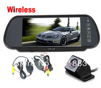 "IR LED  Night Vision Wireless Reverse Camera 170 degree + 7"" LCD Monitor Mirror Car Rear View Kit"