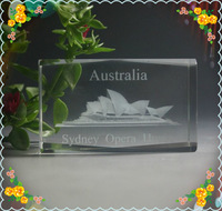 Free Shipping 5*5*8cm Cube  Crystal Laser Sydney Opera House For Australia Souvenir Safest Package with Reasonable Price