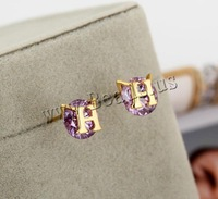 Free shipping!!!Brass,Jewelry 2013 Fashion, Letter H, 18K gold plated, with cubic zirconia, nickel, lead & cadmium free, 9mm