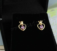 Free shipping!!!Brass,Lovely Jewelry, Heart, 18K gold plated, with cubic zirconia, nickel, lead & cadmium free, 11mm