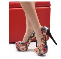 2013 fashion oil painting thin heels female high-heeled single shoes ol fashion elegant high-heeled shoes