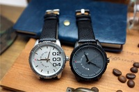 2013 New Man Big Dial The Trend Of Fashion Watches Mens Quartz Watch Sports Casual Vintage Watch Genuine Leather Wristwatches