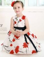 Retail 2014 New HOT Summer children clothing,baby girls princess flower dress,kids cotton chevron print,princess/party costumes