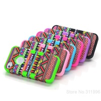 Free shipping 3-Piece Hybrid High Impact Tribal Case PC+Silicone for Iphone 4 4S Mixed colors