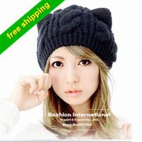 new  2013 Women Lady Devil Horns Cat Ear Crochet Braided Knit animal hat Beanie Wool Hat Cap Winter Warm Beret