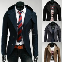 High Quality 2013 New Winter Men Casual Hooded outwear Slim Fit Suit Blazer Jackets Coats drop shipping 19329