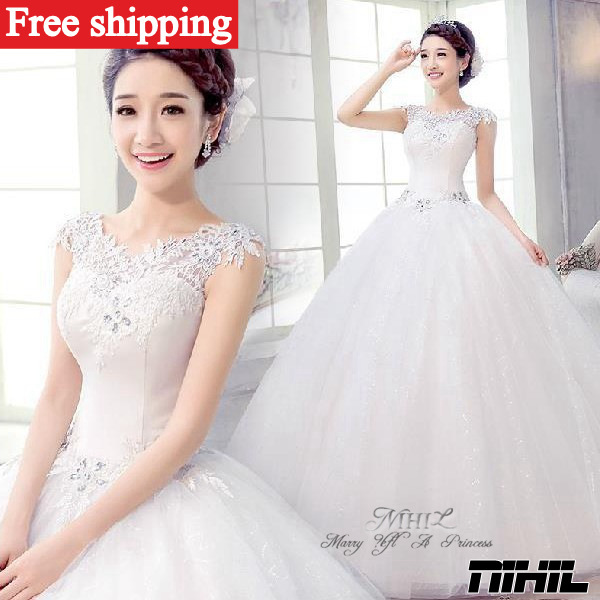 Custom made lace Wedding dress 2014 new women fashionable sleeveless sweetheart vestidos de novia romantic princess bridal gown(China (Mainland))