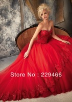 Sweetheart Designer Custom Applique Crystal Applique Corset Red  Tiered Lace Cheap Wedding Dress Ball Gowns
