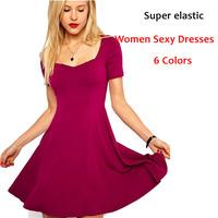 Sexy Women Fashion Dress Summer 2014 Colorful Short sleeve  Square Collar Slim/Elegant Woman Brand Dresses 6Colors Ladies dress