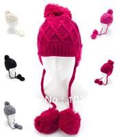 New 2014 Sweet Women Winter Hats Girls' Warm Wool Twist Knitted Hat Fashion Beanies For Woman Flowers Cap Accessories Hot Sale