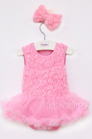 2014 hot sale and best quality summer lace tutu skirt baby girls rose summer romper for 3-9 month baby offer free shipping