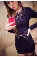 High Quality Casual Dress Women 2015 Spring Ladies Plus Size sexy nightclub Slim hollow long-sleeved dress Vestidos Femininos