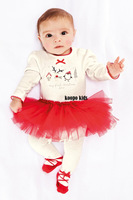 2014 baby Set long sleeve romper skirt girl cotton toddler jumpsuit,infant Children pajamas bodysuit 2 pcs baby clothing set