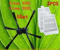 Robot Vacuum Cleaner Accessories Pack for X500 X600 CR120 , Side Brush X 10pcs (5set)+ HEPA Filter X3pcs