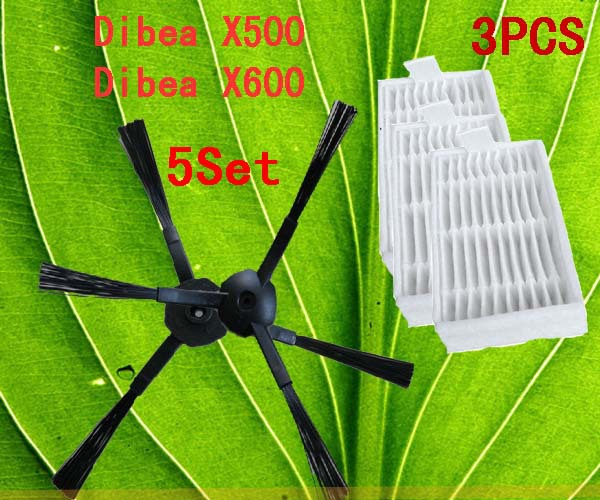 Robot Vacuum Cleaner Accessories Pack for X500 X600 CR120 , Side Brush X 10pcs (5set)+ HEPA Filter X3pcs(China (Mainland))