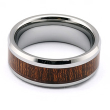 Freeshipping by HK Post Dark Brown Wood Rings Tungsten Wood Inlay ring TRX-273  for Men size 5-13