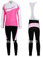 bicicleta jersey women Wholesale! 2012 giant woman Winter Thermal Fleece cycling Jersey Long bib set / 06A-11 ropa ciclismo
