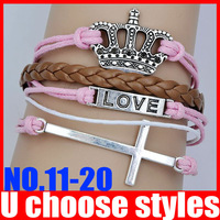 Minimum 10$(Can Mix) Braide Cross Infinity Crown Bracelet One Direction Bracelet 2pcs/lot F0
