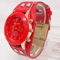 wholesale high quality Geneva Brand leather strap watches women ladies vogue dress quartz Wrist watch