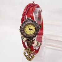 Hot Sales Vintage Genuine Cow Leather Anchor Pendant Watch Women Ladies Dress Quartz Wristwatch KOW062