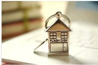 Free Shipping!Key U disk 8g home house hut stainless steel love couple gifts custom USB flash drives custom logo