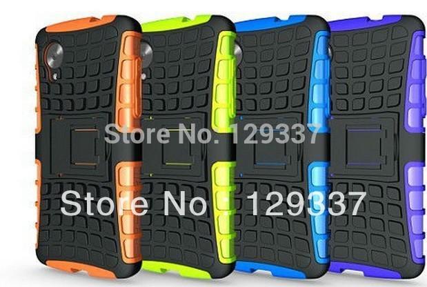MOQ:1pcs Heavy Duty Strong Hybrid Silicone Hard Stand Protective Skin Case For Google LG Nexus 5 E980 New Slim Armor Football(China (Mainland))