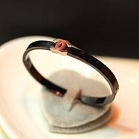 Luxury brand women bangle fashion titanium hand ring small oval letter 14k rose gold bracelet bangle female women accessories