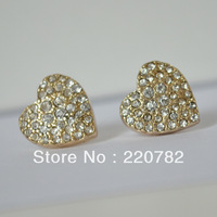 Fashion Earrings 2014 Michael Gold Crystal Heart Love Stud Earrings And Bracelet Bijoux Brand Earrings