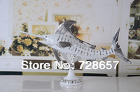 Creative Silver Polyresin Tuna Swordfish Sculpture Ornamental Furnishing Gift Handicraft for Office and Home Decoration