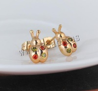 Free shipping!!!Brass,Designs, Ladybug, 18K gold plated, with cubic zirconia, nickel, lead & cadmium free, 13mm, Sold By Pair