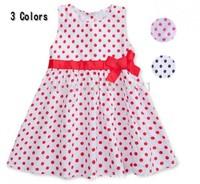 Simple Girl's Dresses Polka Dot Printted Little Girl Kid One-piece Dress Simple Tank Dresses For Child Girls