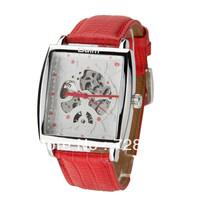 High Quality Leather Belt Mechanical Auto Wind Dress Military Sports Gift Skeleton Analog Quartz Wrist Watch For Man Women clock