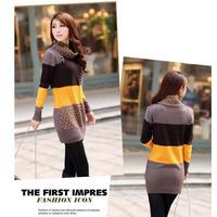 New 2013 Winter High Street Vintage Patchwork Women Sweater Dress Mini Turtleneck Slim Crochet Brand Free Shipping A0238