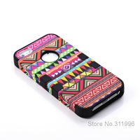 Free shipping 3-Piece Hybrid High Impact Tribal Case PC+Silicone for Iphone 5 5S Mixed colors