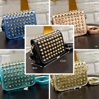 Free Shipping New 2014 Fashion Casual Vintage Rivet PU Leather Handbags Women messenger Bag Clutch Shoulder Bags 1pcs/lot